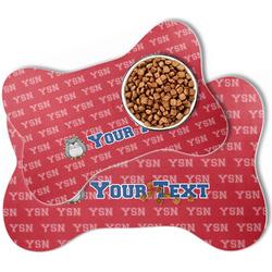 School Mascot Bone Shaped Dog Food Mat (Personalized)