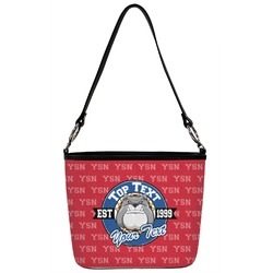 School Mascot Bucket Bag w/ Genuine Leather Trim (Personalized)