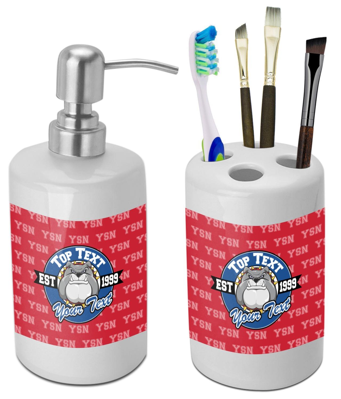 School Mascot Bathroom Accessories Set Ceramic Personalized
