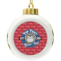 School Mascot Ceramic Ball Ornament (Personalized)