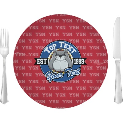 """School Mascot 10"""" Glass Lunch / Dinner Plates - Single or Set (Personalized)"""