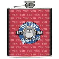 School Mascot Genuine Leather Flask (Personalized)