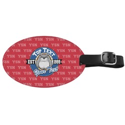School Mascot Genuine Leather Oval Luggage Tag (Personalized)
