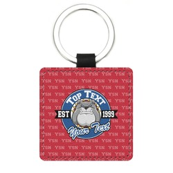 School Mascot Genuine Leather Rectangular Keychain (Personalized)