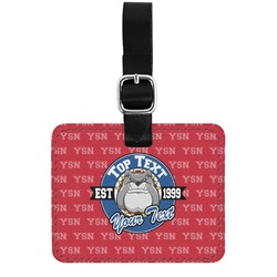 School Mascot Genuine Leather Rectangular  Luggage Tag (Personalized)
