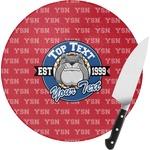School Mascot Round Glass Cutting Board (Personalized)