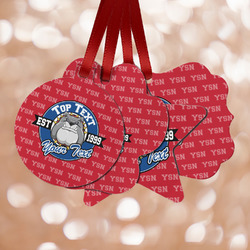 School Mascot Metal Ornaments - Double Sided w/ Name or Text