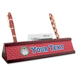 School Mascot Red Mahogany Nameplate with Business Card Holder (Personalized)