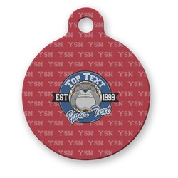School Mascot Round Pet ID Tag (Personalized)