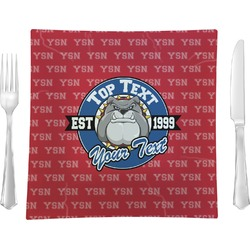 "School Mascot Glass Square Lunch / Dinner Plate 9.5"" - Single or Set of 4 (Personalized)"