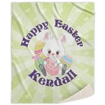 Easter Bunny Sherpa Throw Blanket (Personalized)