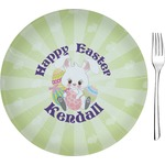 """Easter Bunny Glass Appetizer / Dessert Plates 8"""" - Single or Set (Personalized)"""