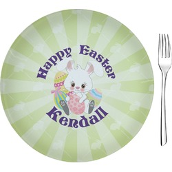 """Easter Bunny 8"""" Glass Appetizer / Dessert Plates - Single or Set (Personalized)"""
