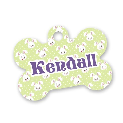 Easter Bunny Bone Shaped Dog Tag (Personalized)