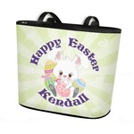 Easter Bunny Bucket Tote w/ Genuine Leather Trim (Personalized)