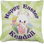 Easter Bunny Faux-Linen Throw Pillow (Personalized)
