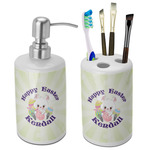 Easter Bunny Ceramic Bathroom Accessories Set (Personalized)