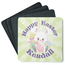 Easter Bunny 4 Square Coasters - Rubber Backed (Personalized)
