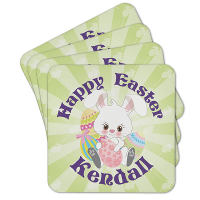 Easter Bunny Cork Coaster - Set of 4 w/ Name or Text