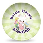 Easter Bunny Microwave Safe Plastic Plate - Composite Polymer (Personalized)