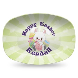 Easter Bunny Plastic Platter - Microwave & Oven Safe Composite Polymer (Personalized)