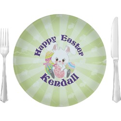 """Easter Bunny 10"""" Glass Lunch / Dinner Plates - Single or Set (Personalized)"""