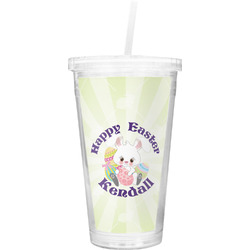Easter Bunny Double Wall Tumbler with Straw (Personalized)