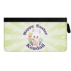 Easter Bunny Genuine Leather Ladies Zippered Wallet (Personalized)