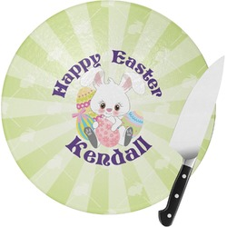 Easter Bunny Round Glass Cutting Board (Personalized)