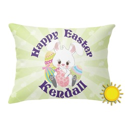 Easter Bunny Outdoor Throw Pillow (Rectangular) (Personalized)