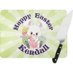 Easter Bunny Rectangular Glass Cutting Board (Personalized)