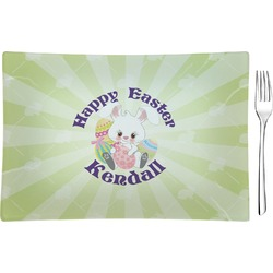 Easter Bunny Glass Rectangular Appetizer / Dessert Plate - Single or Set (Personalized)