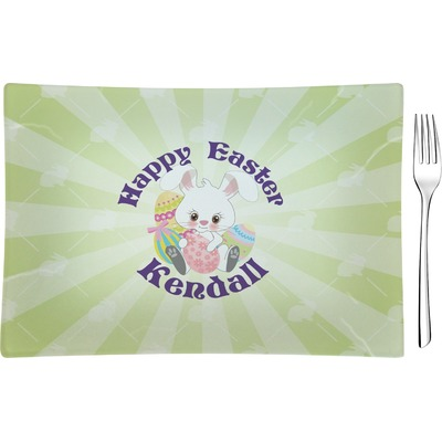 Easter Bunny Glass Rectangular Appetizer / Dessert Plate (Personalized)