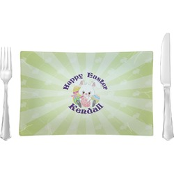 Easter Bunny Rectangular Glass Lunch / Dinner Plate - Single or Set (Personalized)