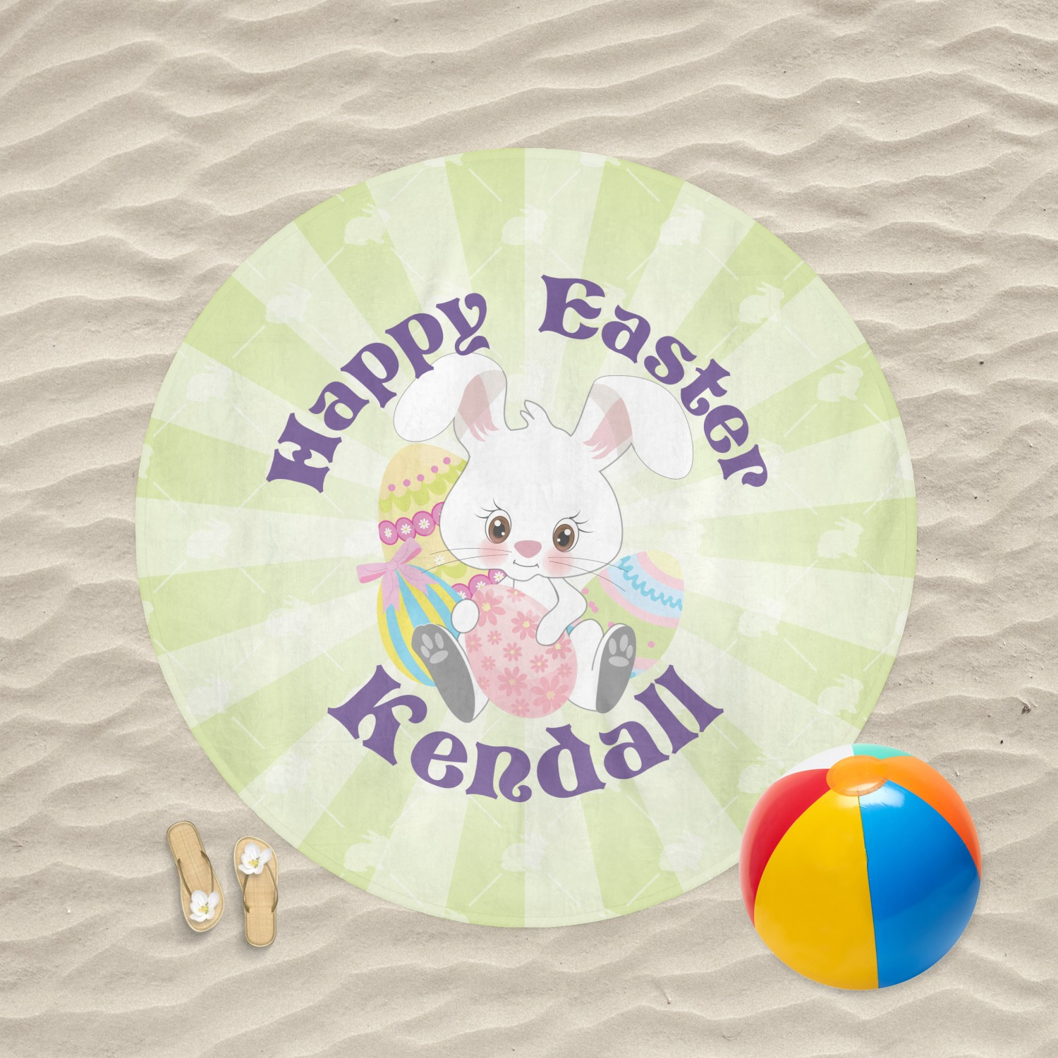 Easter Bunny Round Beach Towel Personalized Youcustomizeit
