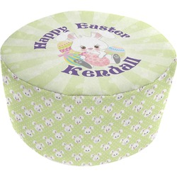Easter Bunny Round Pouf Ottoman (Personalized)