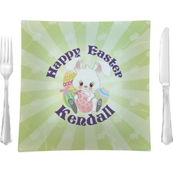 """Easter Bunny Glass Square Lunch / Dinner Plate 9.5"""" - Single or Set of 4 (Personalized)"""