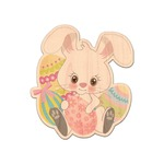Easter Bunny Genuine Maple or Cherry Wood Sticker (Personalized)