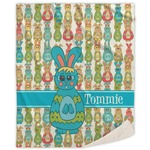 Fun Easter Bunnies Sherpa Throw Blanket (Personalized)
