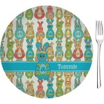 """Fun Easter Bunnies Glass Appetizer / Dessert Plates 8"""" - Single or Set (Personalized)"""