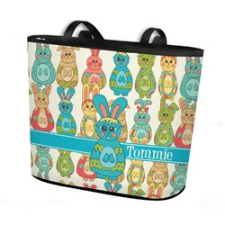 Fun Easter Bunnies Bucket Tote w/ Genuine Leather Trim (Personalized)