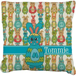 Fun Easter Bunnies Faux-Linen Throw Pillow (Personalized)