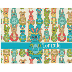 Fun Easter Bunnies Woven Fabric Placemat - Twill w/ Name or Text