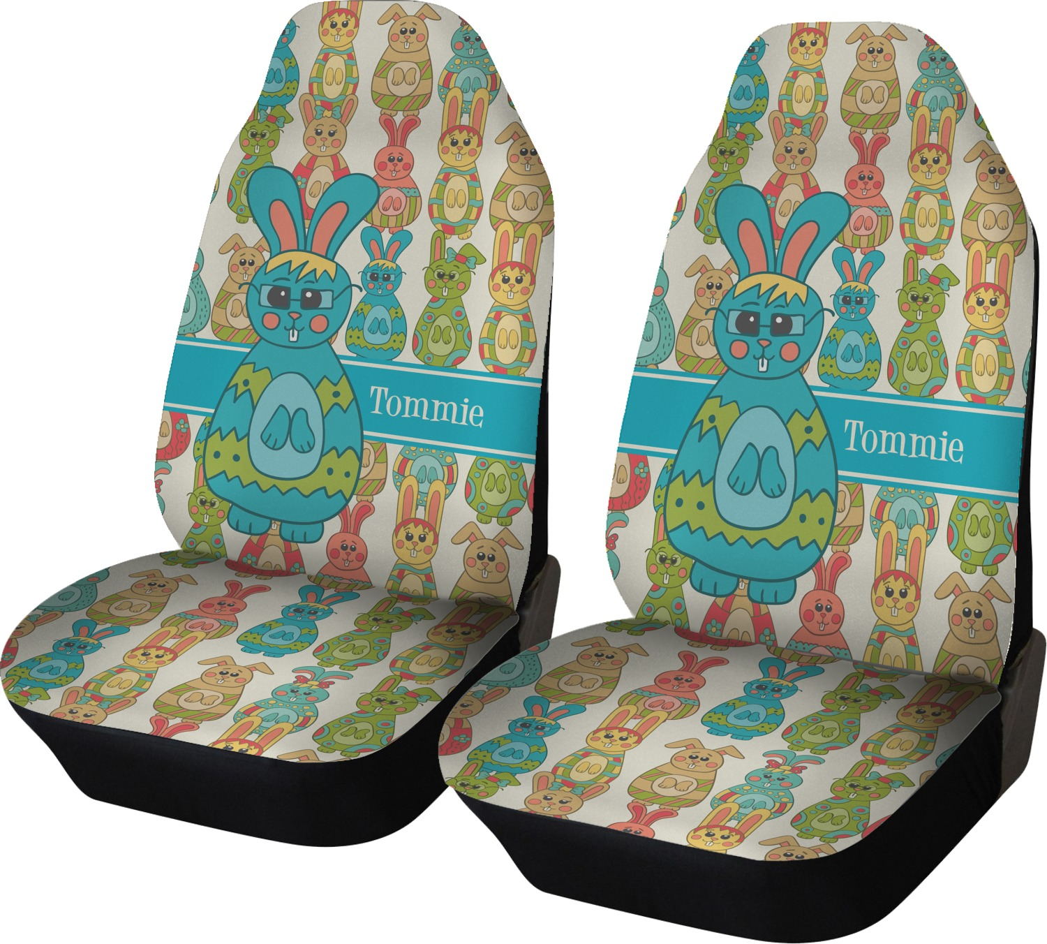 fun easter bunnies car seat covers set of two personalized youcustomizeit. Black Bedroom Furniture Sets. Home Design Ideas