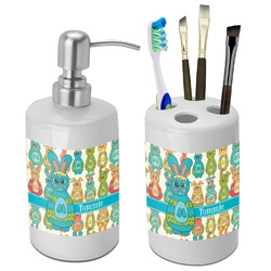 Fun Easter Bunnies Bathroom Accessories Set (Ceramic) (Personalized)
