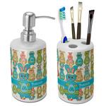 Fun Easter Bunnies Ceramic Bathroom Accessories Set (Personalized)