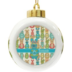 Fun Easter Bunnies Ceramic Ball Ornament (Personalized)