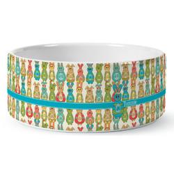 Fun Easter Bunnies Ceramic Pet Bowl (Personalized)