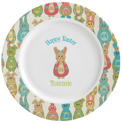 Fun Easter Bunnies Ceramic Dinner Plates (Set of 4) (Personalized)