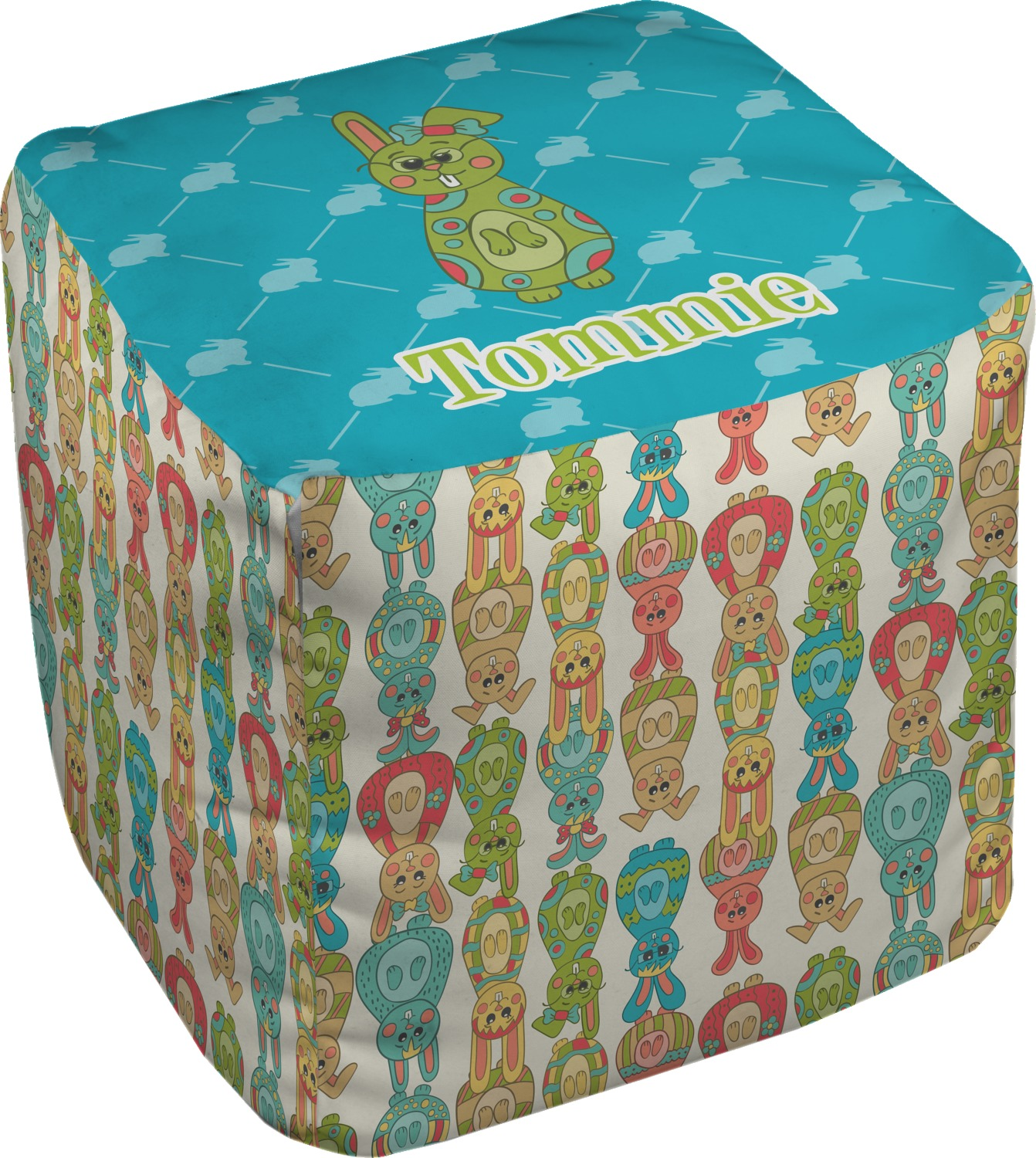 Fun Easter Bunnies Cube Pouf Ottoman 18 Personalized